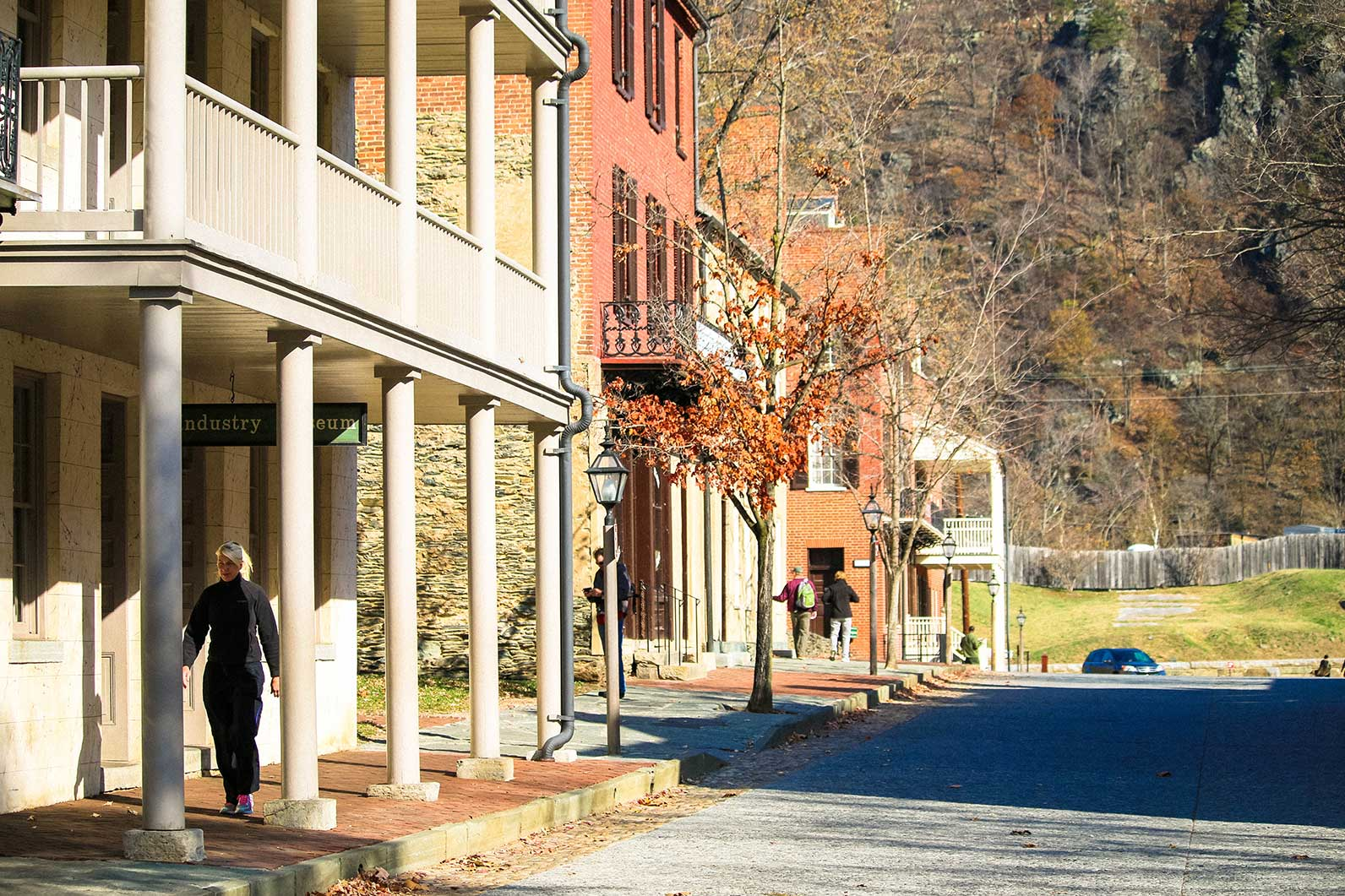 Woman walking in Harper's Ferry, WV
