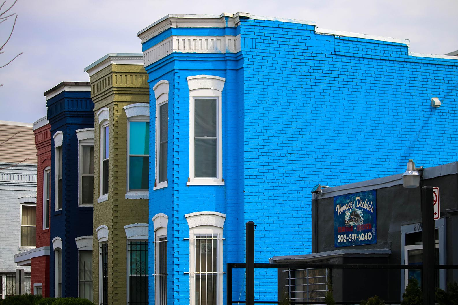 Bright row houses in Atlas District, Washington, D.C.