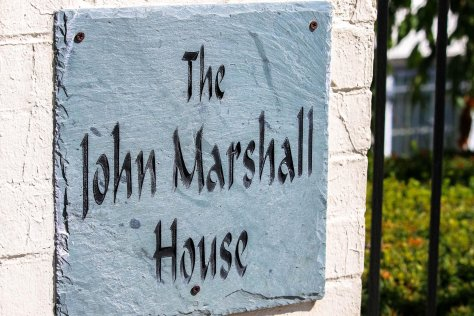 The John Marshall House sign in Capitol Hill, Washington, DC