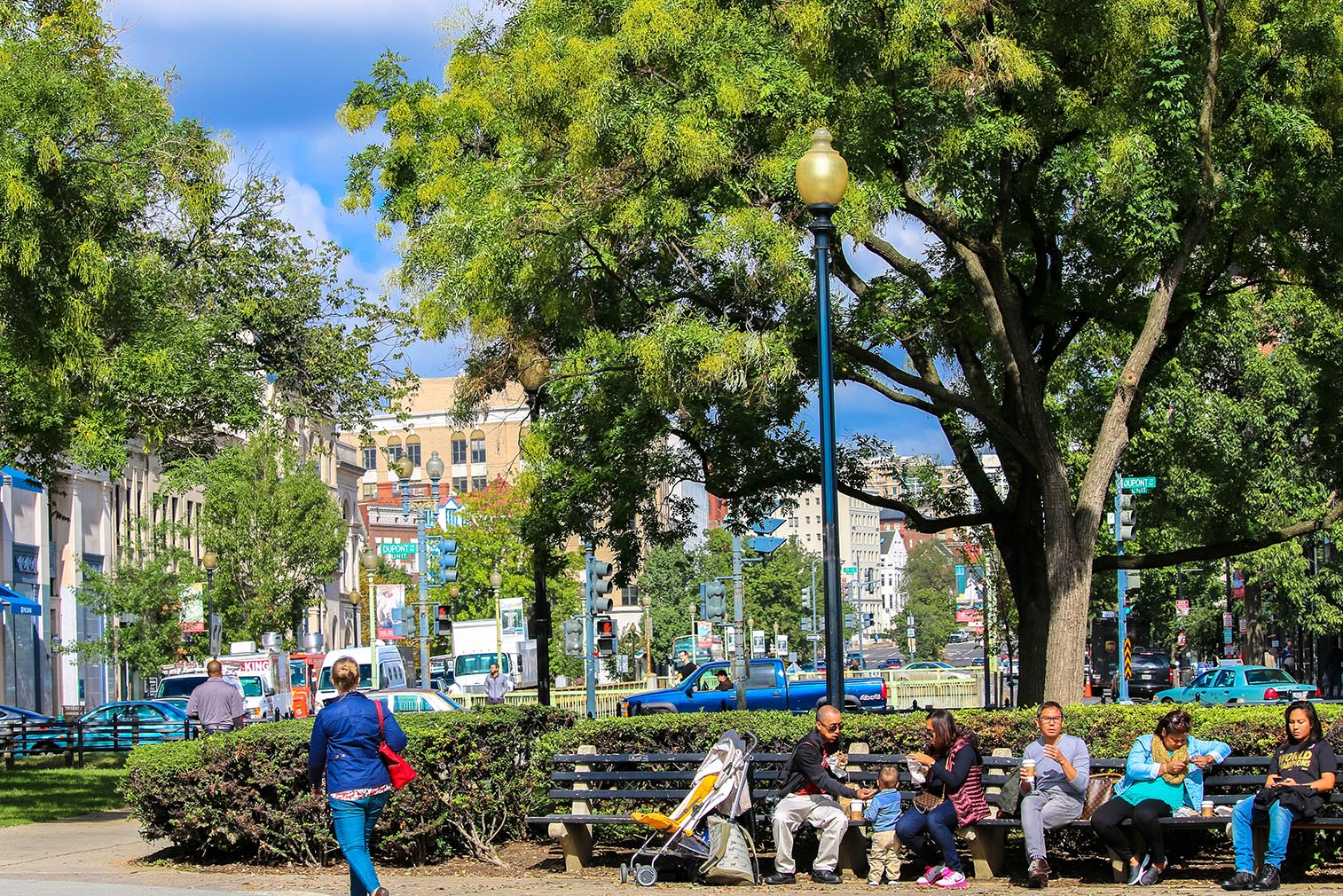People sitting in Dupont Circle, Washington, D.C.