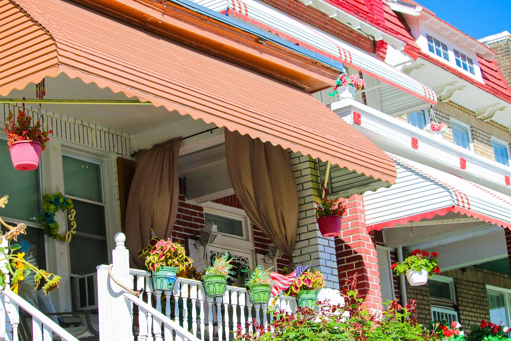 Houses with plants and awnings in Eckington, Washington, D.C.